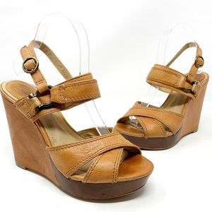 Frye | Alexa Criss Cross leather platform wedges 8